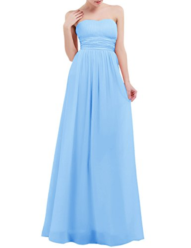 Freebily Women Chiffon Bridesmaid Formal Dress Strapless Long Prom Evening Gown Light Blue 4