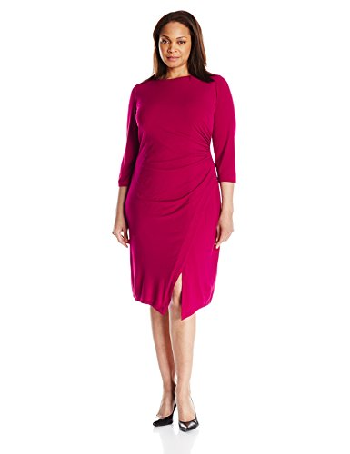 London Times Women's Plus-Size 3/4 Sleeve Jersey Sheath Dress with Ruched Sides, Plum Pink, 22W