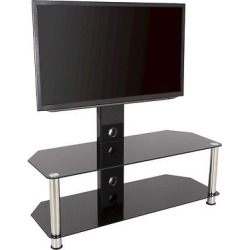 TV Stand with TV Mounting Column and cable management – 65′- Silver & black – Avf, Black/Silver
