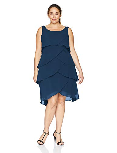 S.L. Fashions Women's Plus-Size Multi-Tier Dress, Navy, 24W