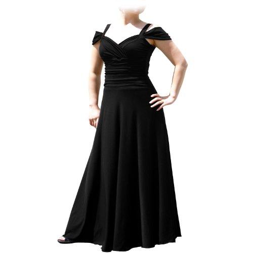 EVANESE Women's Plus Size Elegant Long Formal Evening Dress with Shoulder bands 3X. Black