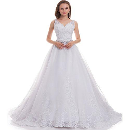 Fair Lady Women's Double V-Neck Lace Applique Empire Chapel Train Wedding Dress White 2