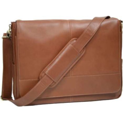 Royce Leather Laptop Messenger Bag, Beig/Green (Beig/Khaki)