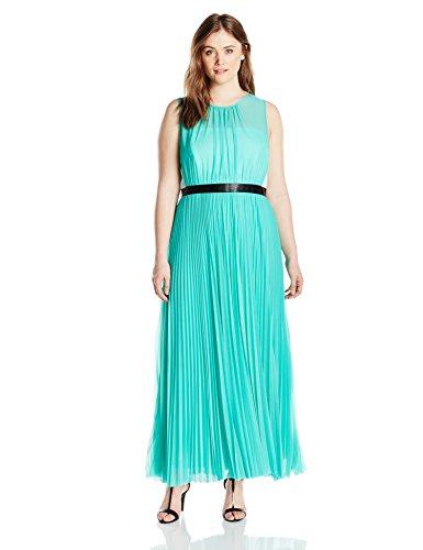 ABS by Allen Schwartz Women's Plus-Size Sheer Gown with Pleated Skirt, Mint, 20W