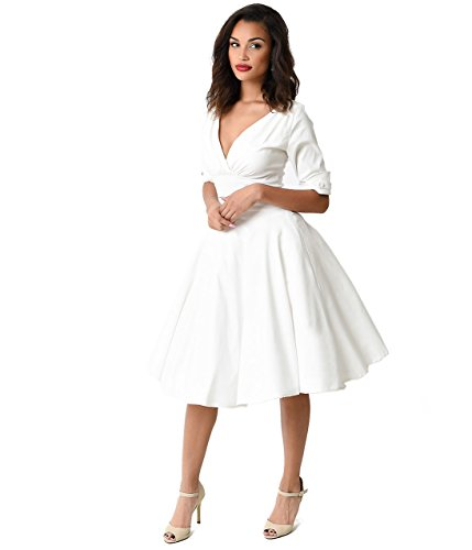 Unique Vintage 1950s Ivory Delores Swing Dress with Sleeves