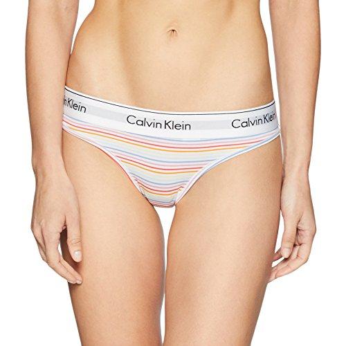 Calvin Klein Women's Regular Modern Cotton Thong Panty, Pride Stripe, Medium