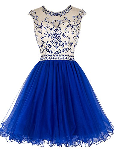 Tideclothes ALAGIRLS Beaded Homecoming Dress Short Tulle Prom Cocktail Gowns Hollow Back Royal Blue US10