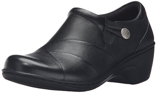 CLARKS Women's Channing Ann Slip-On Loafer, Black Leather, 9.5 M US