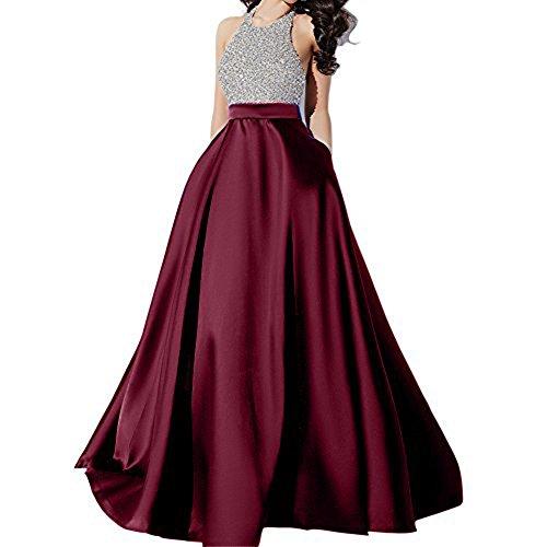 Andybridal Satin Prom Dress Halter Beaded Sequins Backless Long Evening Dresses, Burgundy, 8