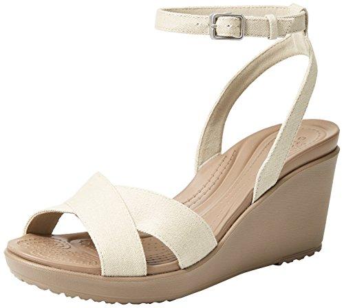 Crocs Women's Leigh II Ankle Strap Wedge W Sandal, Oatmeal/Mushroom, 11 M US