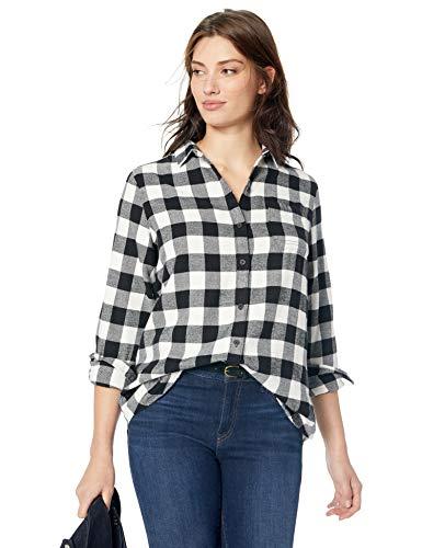 Woolrich Women's Eco Rich Pemberton Boyfriend Flannel Shirt, Ivory Check, L