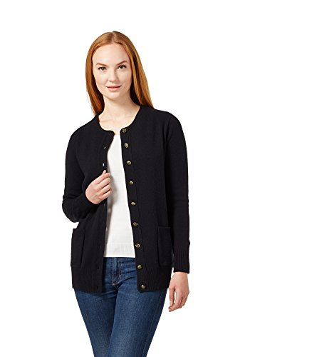 WoolOvers Womens Lambswool Crew Neck Cardigan Black, L