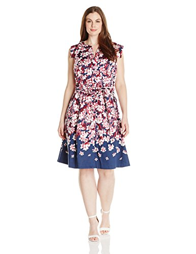 Adrianna Papell Women's Plus Size Fit and Flare Printed Shirt Dress, Navy Multi, 18W