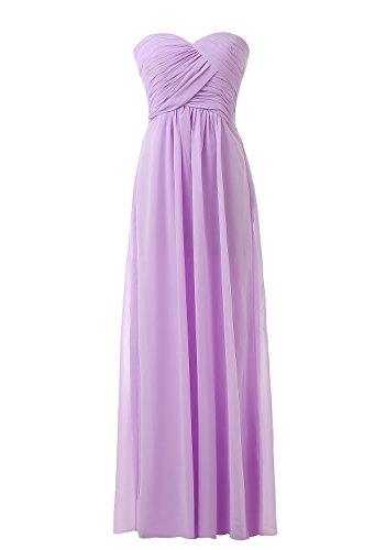 Kiss Dress Women's Bridesmaid Dresses Long Sweetheart Prom Gowns Chiffon Strapless(M,Lavender)