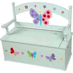 Olive Kids Butterfly Garden Bench Seat With Storage – Blue – Levels Of Discovery