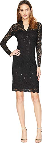 Marina Women's Long-Sleeve Lace Sequin Dress, Black, 12