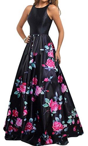 Meier Women's Long Sleeveless Open Back Print Formal Ball Gown Size 12