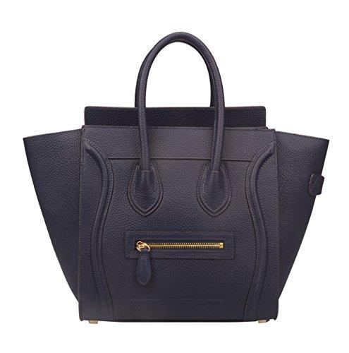 Ainifeel Women's Genuine Leather Smile Top Handle Handbag Purse (Medium, Dark blue)