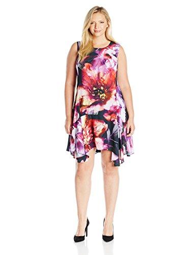 Julia Jordan Women's Plus Size Abstract Floral Dress, Black/Purple, 16W