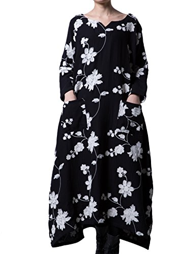 Mordenmiss Women's Embroidered Casual Long Maxi Dress with Pockets Large Black
