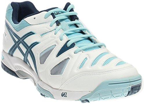 ASICS Women's Gel-Game 5 Tennis Shoe, White Steel/Crystal Blue, 12 M US