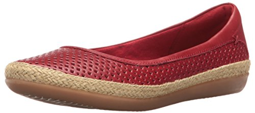 CLARKS Women's Danelly Adira Ballet Flat, Red Leather, 7 M US