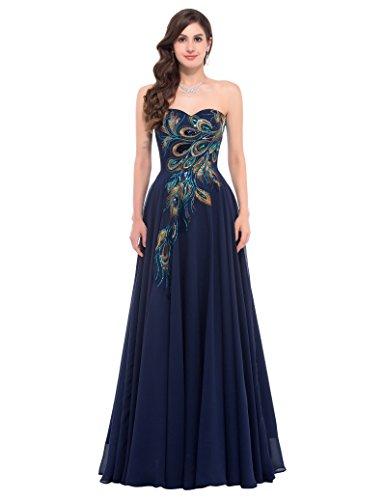 GRACE KARIN Women Satin Bridesmaid Dress Maxi Evening Prom Dresses Size 4 Navy Blue CL675-2