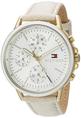 Tommy Hilfiger Women's Sport' Quartz Gold-Tone and Leather Casual Watch, Color:Champagne (Model: 1781790)