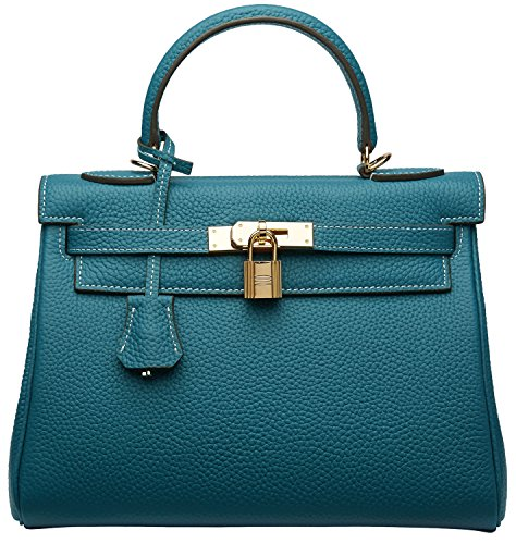 Cherish Kiss Women's Top Handle Satchel Handbag Cross Body Shoulder Padlock Handbags (28CM, Peacock Blue)