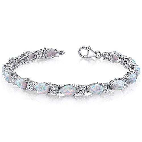 Created Opal Bracelet Sterling Silver Tear Drop 10.00 Carats