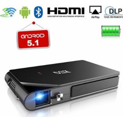 Mini DLP Projector Indoor Outdoors Movie Player Portable LED Bulb Pocket Pico Wireless Airplay Miracast Wifi USB HDMI 1080P Keystone Android Bluetooth Built-in Rechargeable Battery Stereo Audio