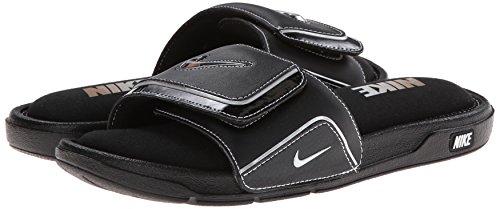 Nike Mens Comfort Slide 2 Sandal (10, Black/Metallic Silver/White)
