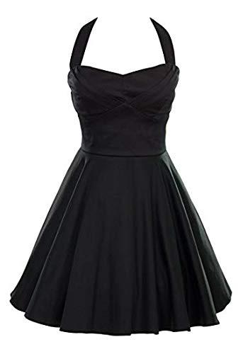Ixia Retro Pinup Solid Vintage Aline Dress Junior Cut – Black-Small