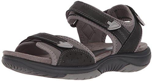 Rockport Women's Franklin Three Strap Sport Sandal, Black, 8 M US
