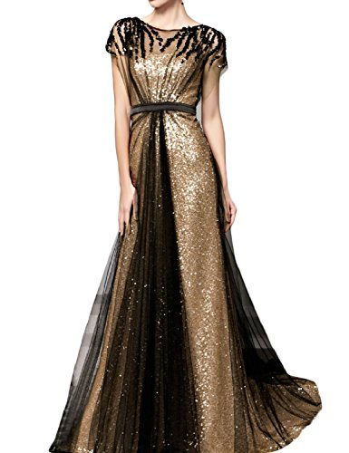 OYISHA Womens Long Sequins A-line Evening Dress Formal Gowns with Sleeves 3SQ Gold Black 20Plus