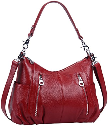 Heshe Women's Leather Shoulder Handbags Cross Body Bags Hobo Totes Top Handle Bag Satchel and Purse for Ladies (Maroon-H)