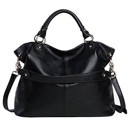 Kattee Women's Soft Genuine Leather 3-Way Satchel Tote Handbag Black