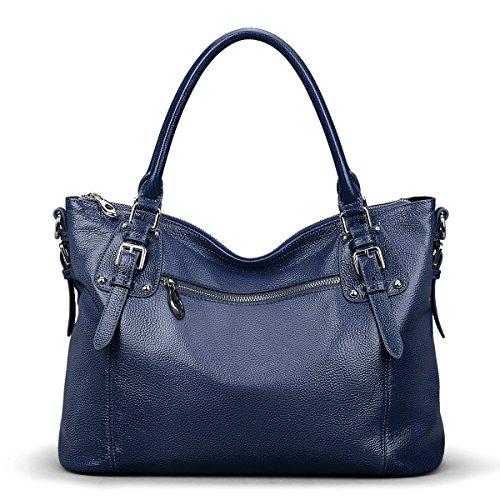 S-ZONE Women's Vintage Genuine Leather Tote Large Shoulder Bag Upgraded Version with Zipper Pocket Outside (Large-Blue)