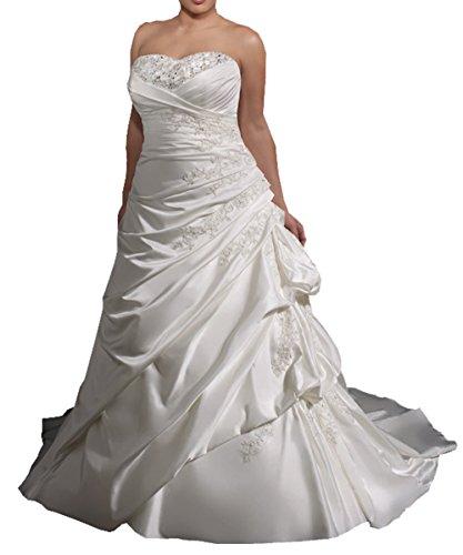 Harshori Womens Plue Size Sweetheart Plue Size Wedding Dress 22 White
