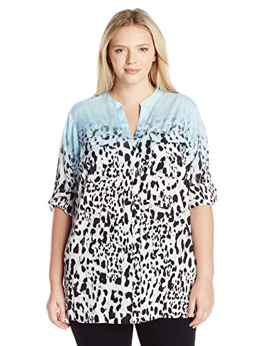 Calvin Klein Women's Plus Size Crew Neck Roll Sleeve Blouse, Cool/Soft White Multi, 2X