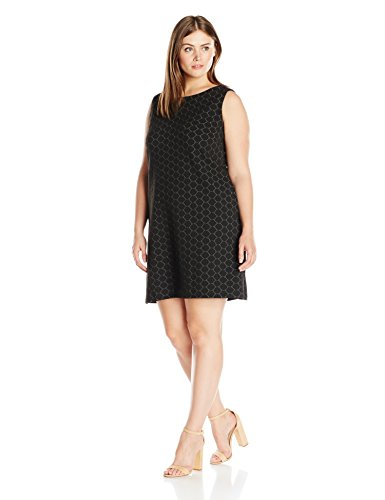 Taylor Dresses Women's Plus Size Novelty Circle Embroidery Shift Dress, Black/Ivory, 20W