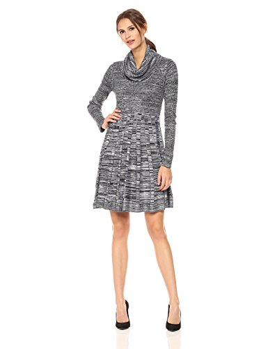 Calvin Klein Women's Long-Sleeve Cowl-Neck Fit & Flare Sweater Dress, Black/White, M