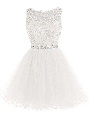 Tideclothes ALAGIRLS Short Beaded Homecoming Dress Tulle Lace Applique Prom Party Gowns Ivory US6
