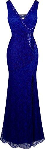 Angel-fashions Women's V Neck Lace Split Ruffled Beading Sheath Dress Small Royal Blue