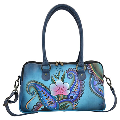 Anuschka Anna by Handpainted Leather Large Multi Comparment Satchel, Denim Paisley Floral