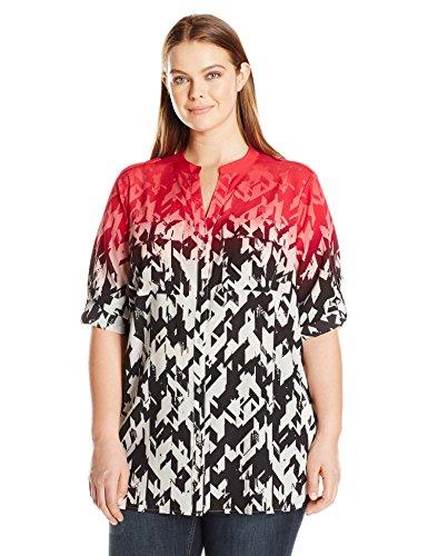 Calvin Klein Women's Plus Size Printed Crew Neck Roll Sleeve Blouse, Watermelon/Soft White, 2X