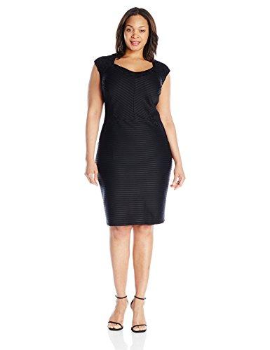 London Times Women's Plus-Size Cap Sleeve Lace Inset Pintuck Sheath, Black, 18W