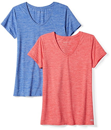 Amazon Essentials Women's Standard 2-Pack Tech Stretch Short-Sleeve V-Neck T-Shirt, Fiery Coral Cobalt Heather, X-Large