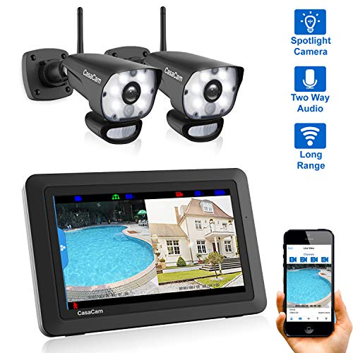 CasaCam VS1002 Wireless Security Camera System with HD Spotlight Cameras and 7″ Touchscreen Monitor (2-cam kit)
