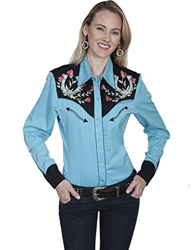 Scully Women's Horseshoe Embroidered Retro Western Shirt Turquoise Small